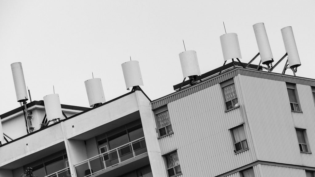 cell tower on roof in burlington